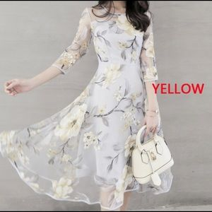 Dresses & Skirts - See Through Organza Double Layer Flower Dress